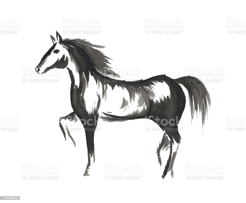 Hand drawn horse royalty-free stock photo