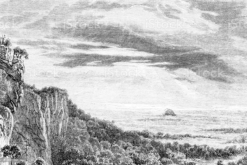Hand drawn illustration of a coastal landscape stock photo