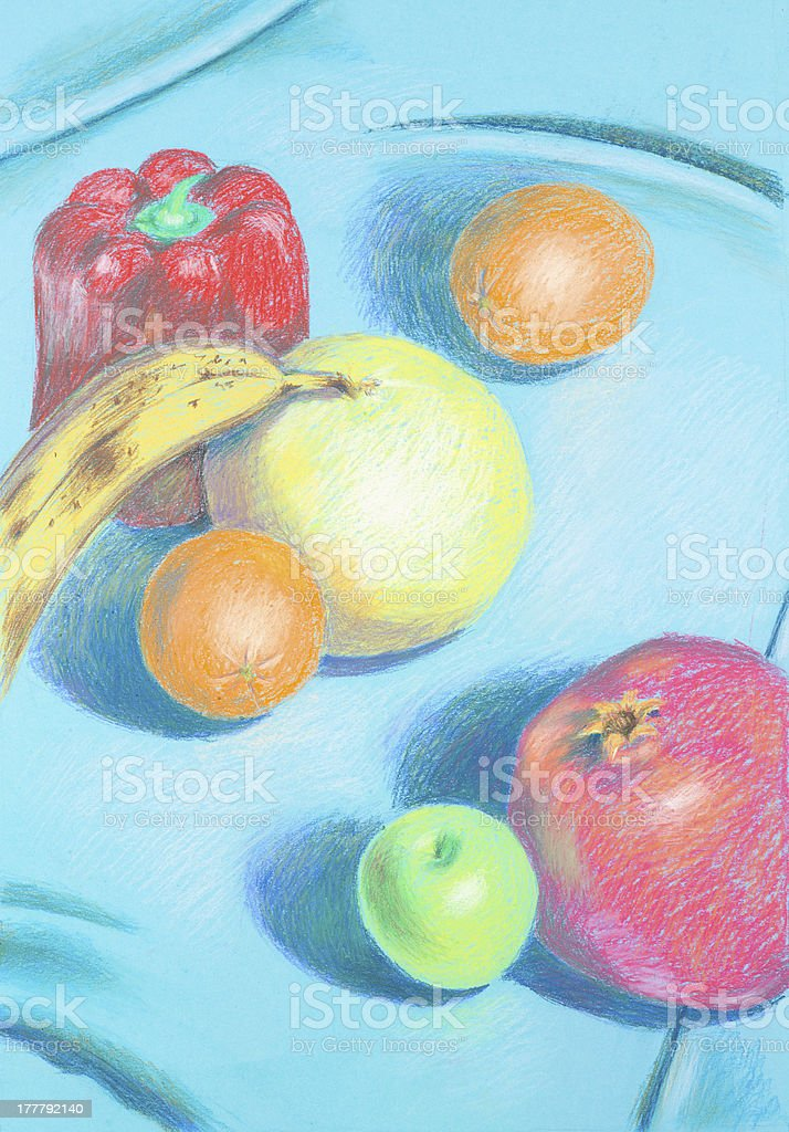 hand drawn illustration of different, colorful fruis royalty-free stock photo