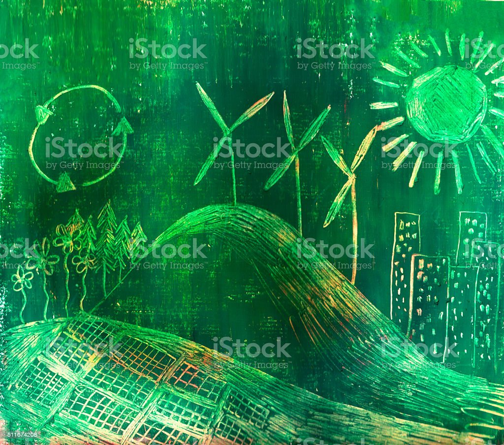 Hand drawn illustration of ecological landscape with wind power stock photo