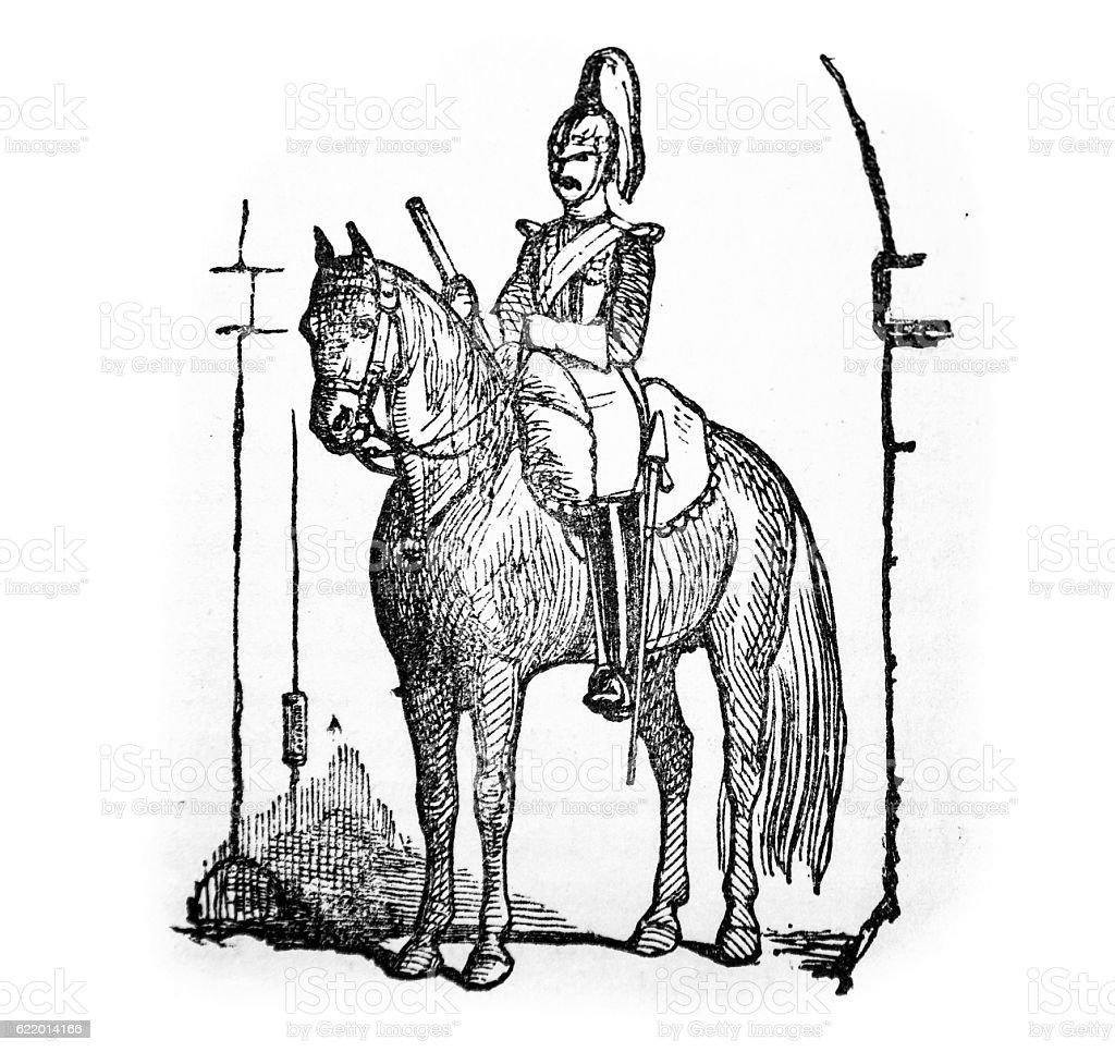 Hand drawn illustration of horse back guard stock photo