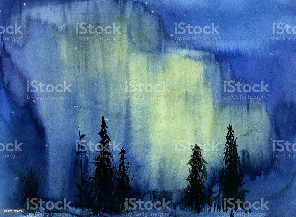 Hand drawn illustration of night view with northern lights stock photo