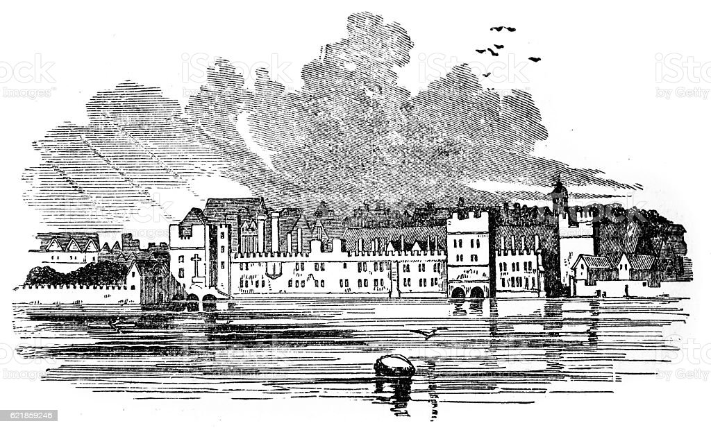 Hand drawn illustration of Savoy Hospital stock photo