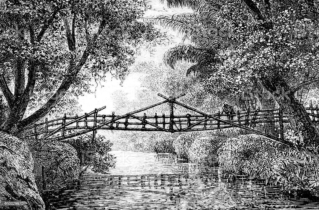 Hand drawn illustration of small bridge stock photo