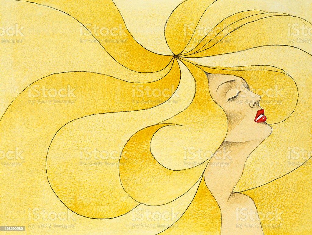 hand drawn illustration woman, big blonde hair royalty-free stock photo