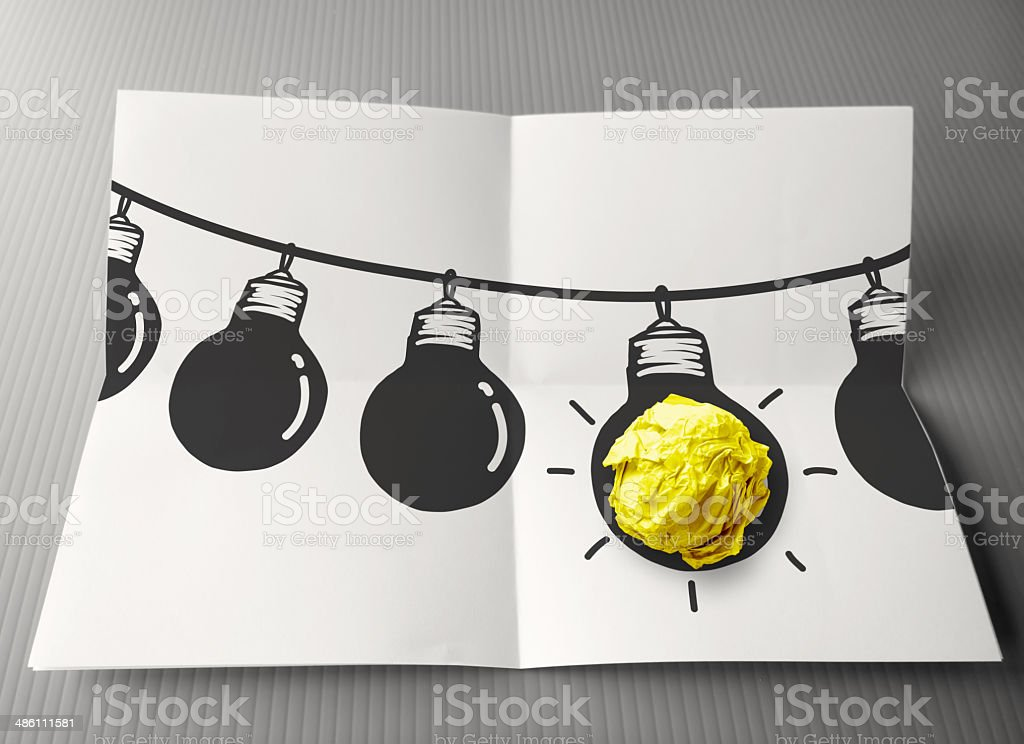 hand drawn light bulb on wire doodle royalty-free stock photo