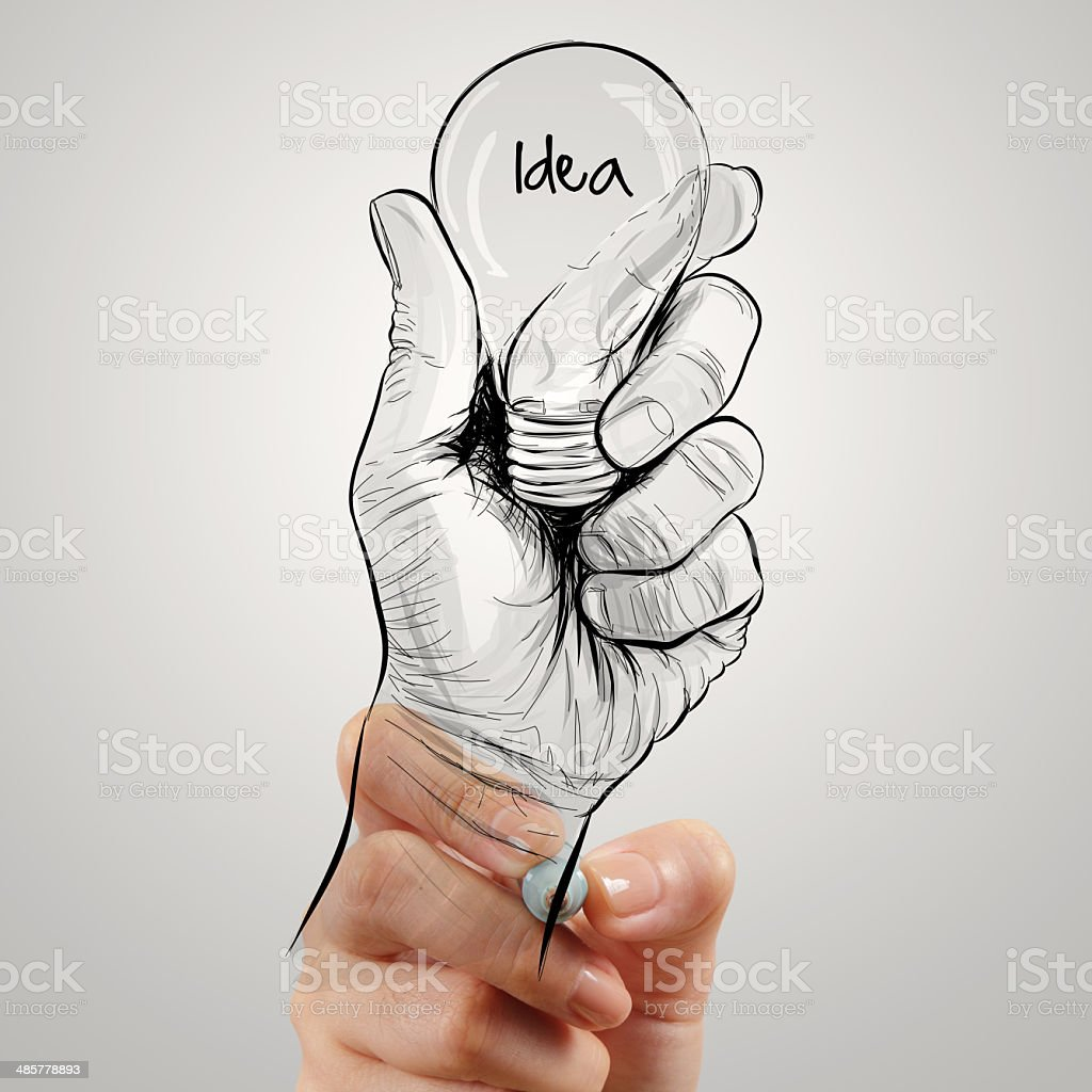 Hand drawn light bulb with IDEA word royalty-free stock photo