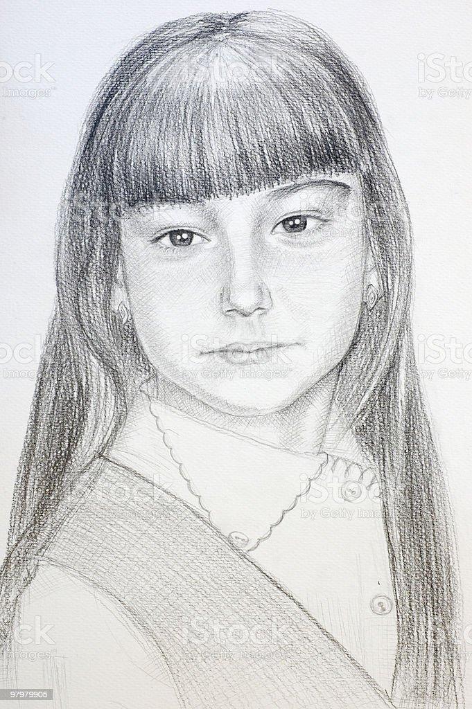 hand drawn little schoolgirl royalty-free stock photo