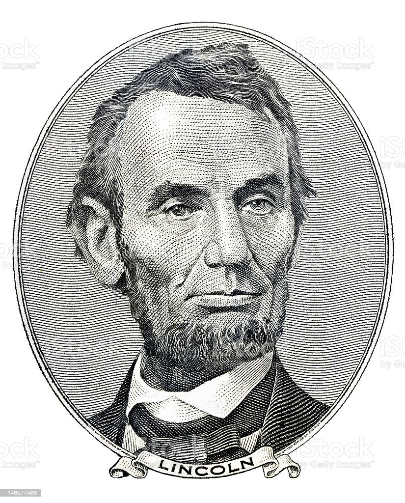 A hand drawn portrait of Abraham Lincoln stock photo
