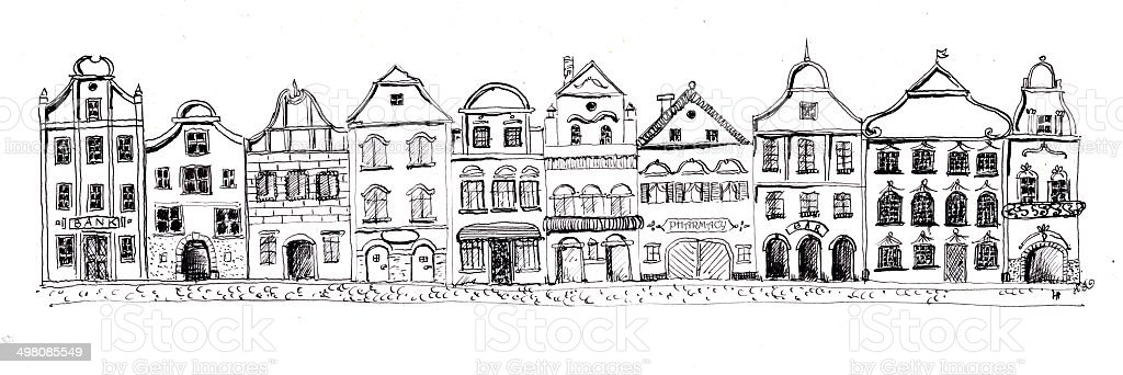 Hand drawn set of ten old houses. stock photo