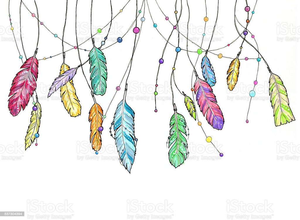 Hand drawn sketch feathers of dream catcher. stock photo