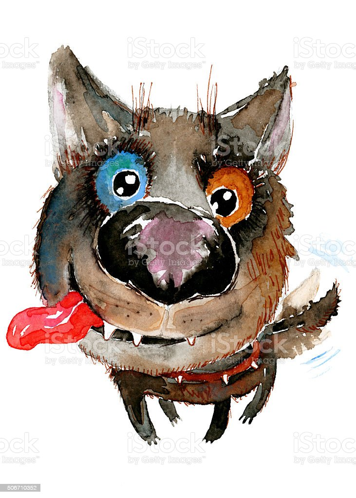 Hand drawn watercolor illustration without tracing. Happy funny dog. stock photo