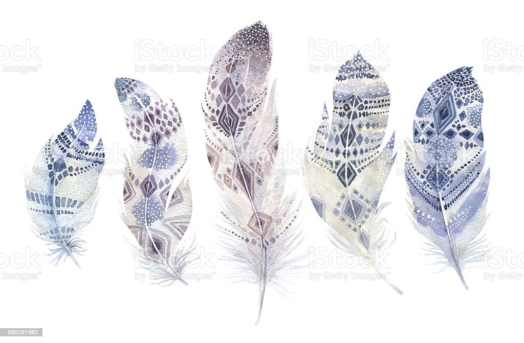 Hand drawn watercolor paintings vibrant feather set. Boho style wings stock photo