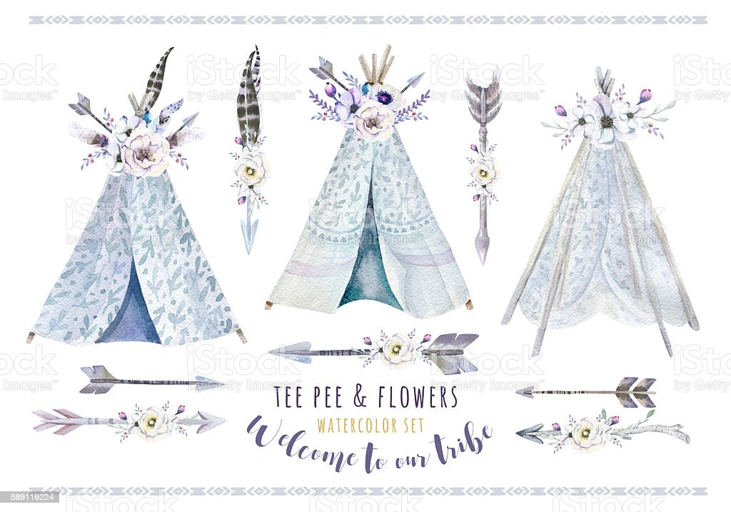 Hand drawn watercolor tribal teepee, isolated white campsite ten stock photo