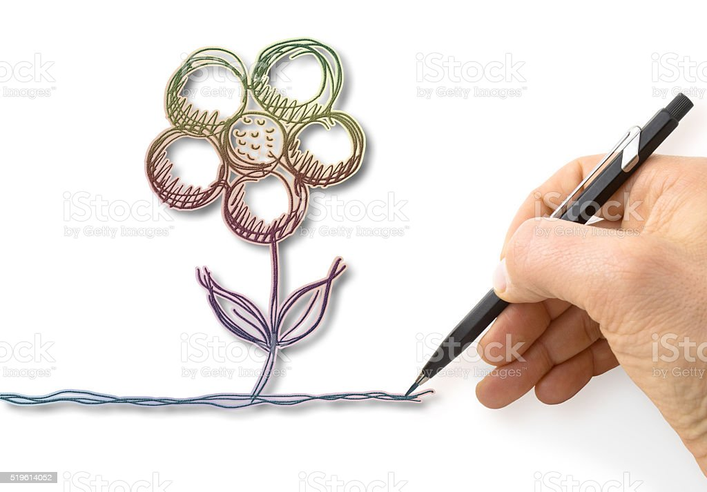 Hand draws a colorful flower stock photo