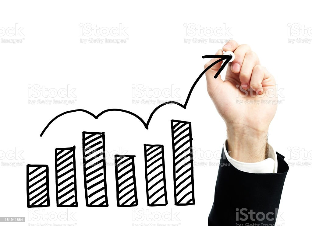 Hand draws graphs and an arrow for a chart stock photo