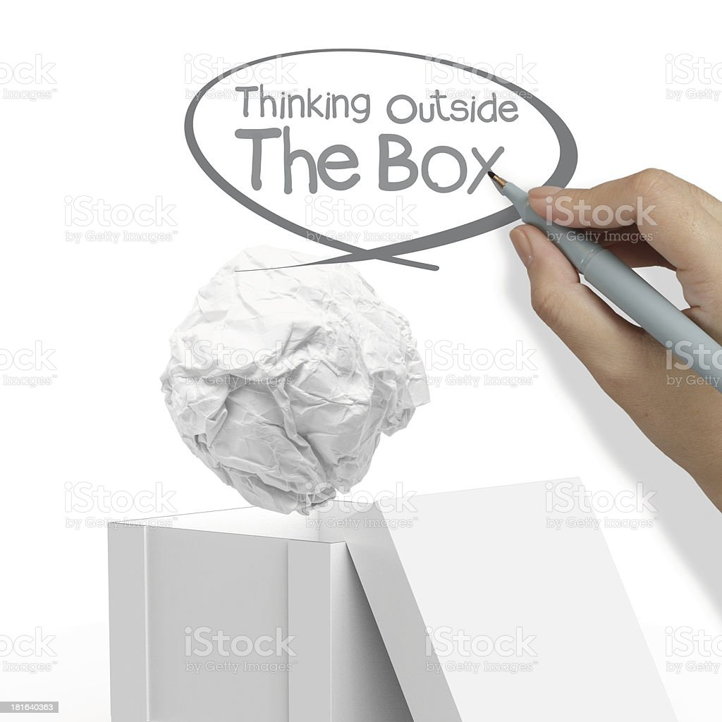 hand draws think outside the box royalty-free stock photo