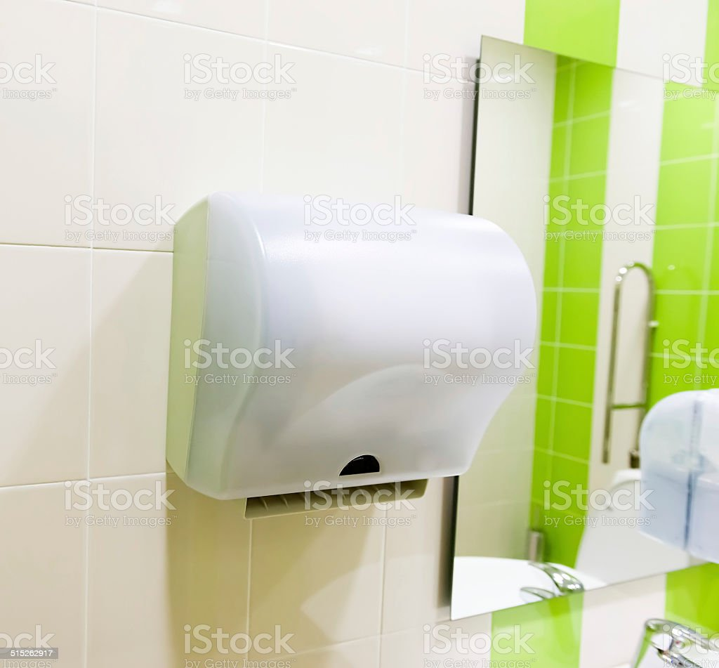 Hand drier in public WC stock photo