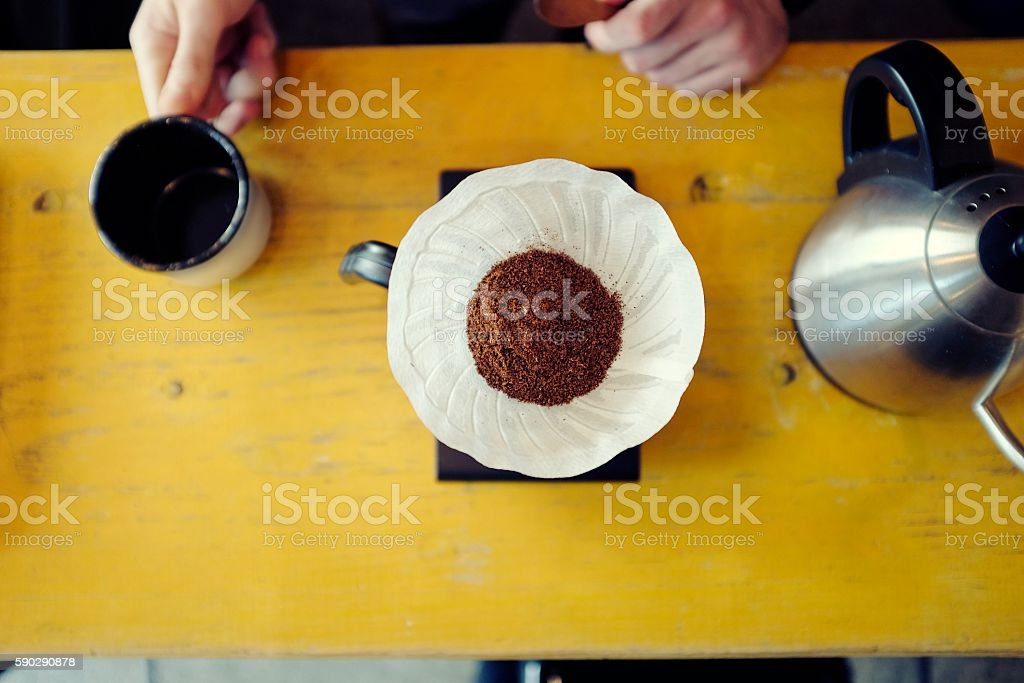 Hand drip making coffee stock photo
