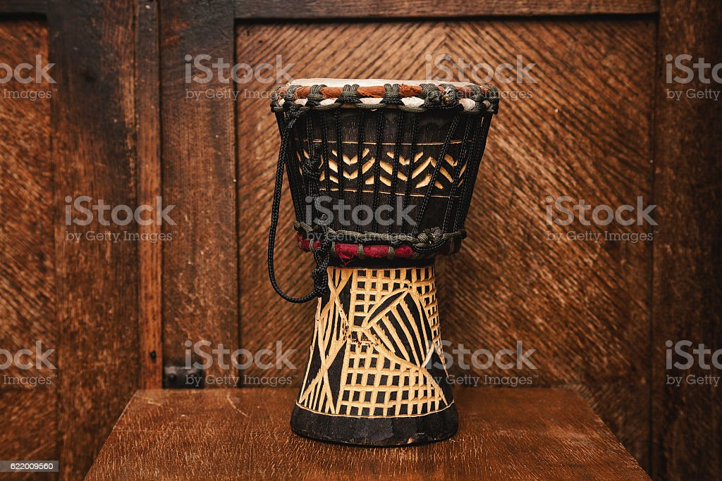 hand drum Indian on vintage wooden background stock photo