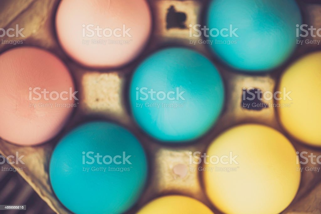 Hand dyed eggs for Easter in pastel colors stock photo