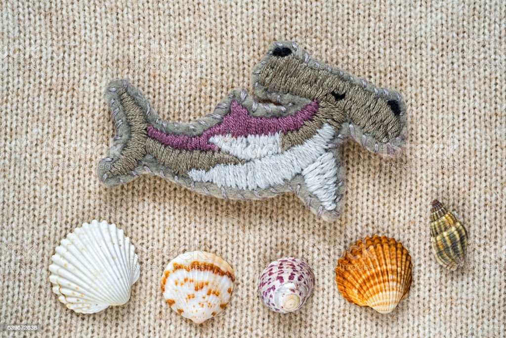 hand embroidered hammer fish stock photo