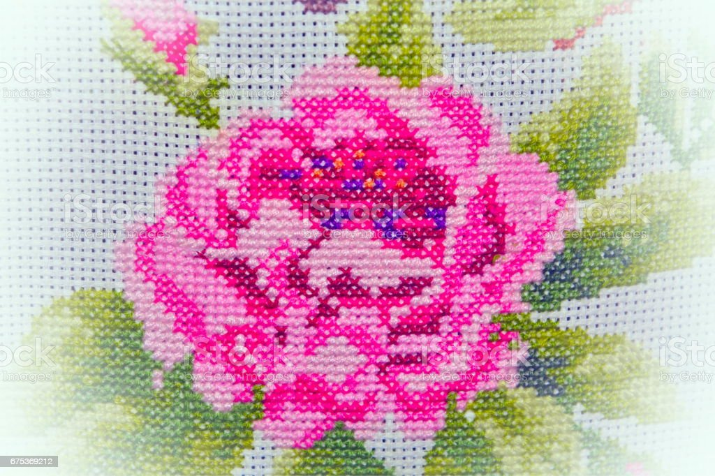 Hand embroidery embroidered with a rose rose on a white background canvas stock photo