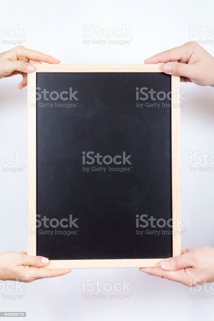 hand empty slate stock photo