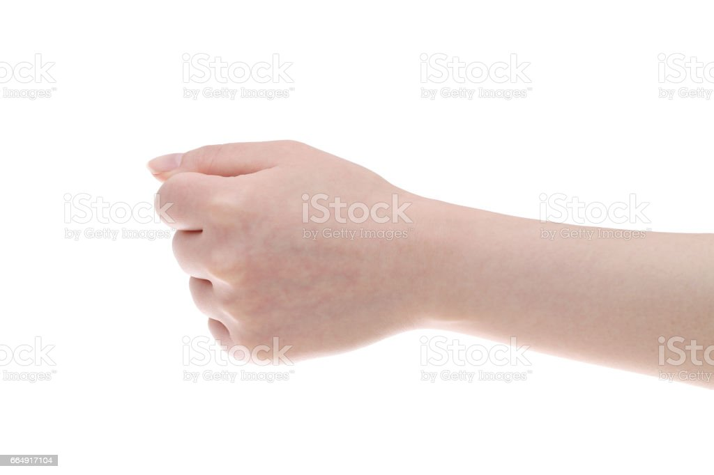 Hand female fist closeup stock photo