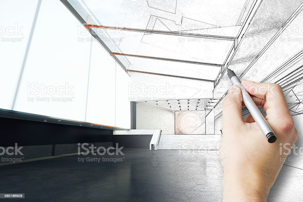 Hand finishing real estate project stock photo