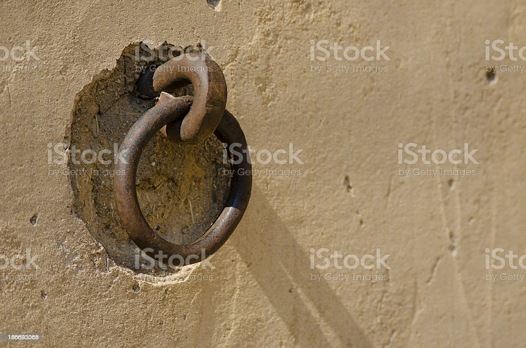 Hand Forged Iron Wall Ring at Bent's Old Fort stock photo