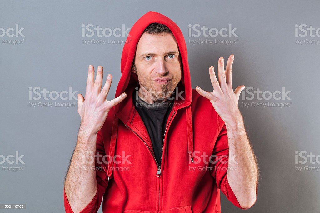 hand gesture concept for angry 40s man expressing exasperation stock photo