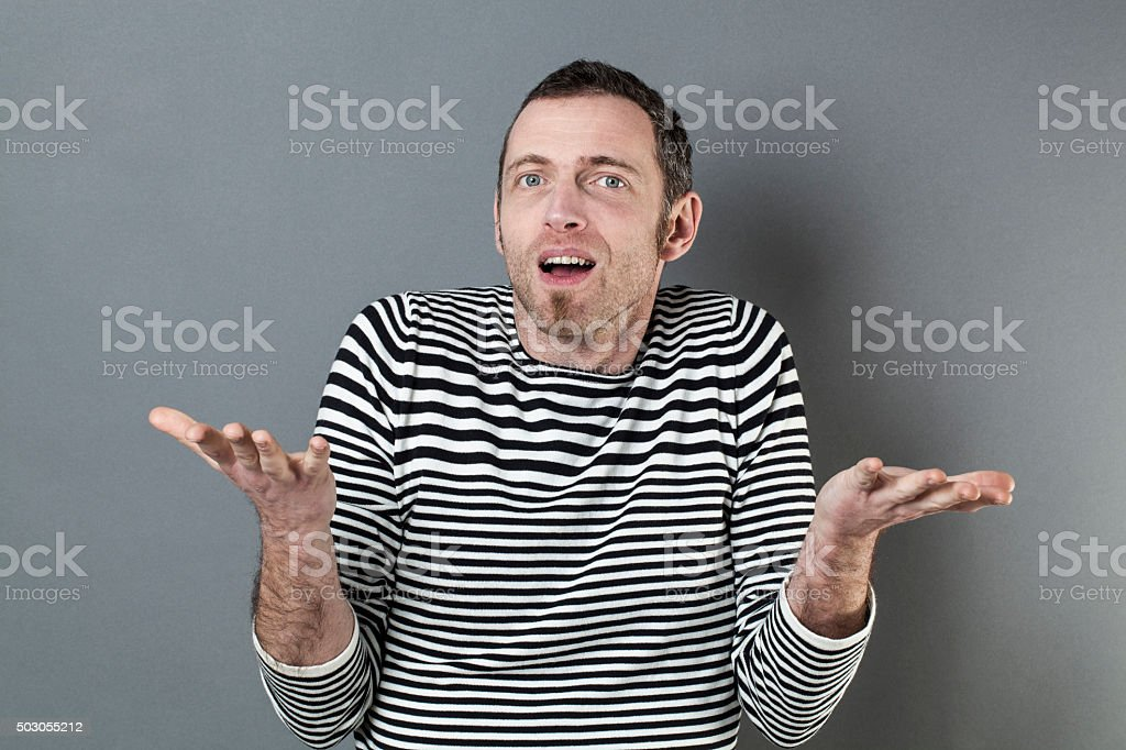hand gesture concept for surprised 40s man stock photo