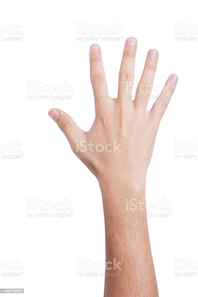 hand gesture, cut out on white background stock photo