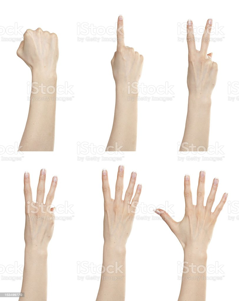 Hand gesture set counting numbers royalty-free stock photo