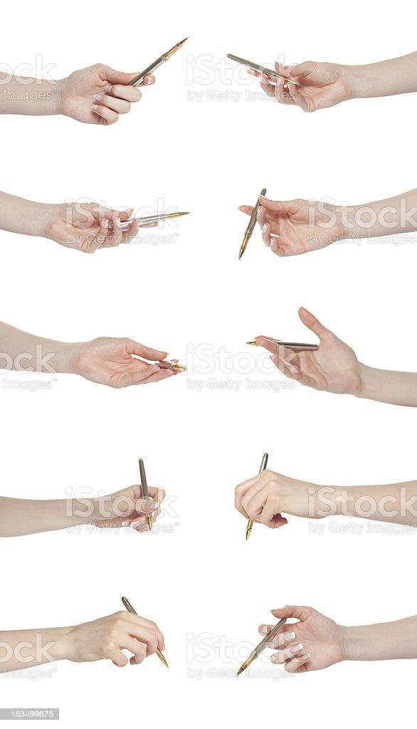 Hand gesture set pen stock photo