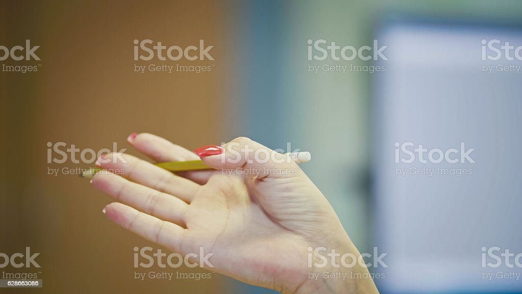 Hand gestures of Woman Office Manager when talking on the stock photo