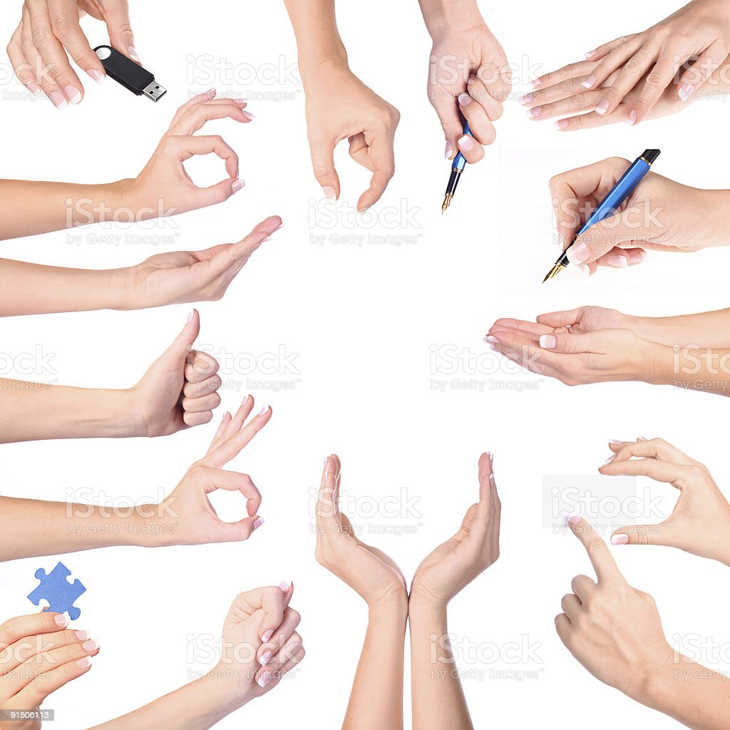 Hand gestures set, isolated royalty-free stock photo