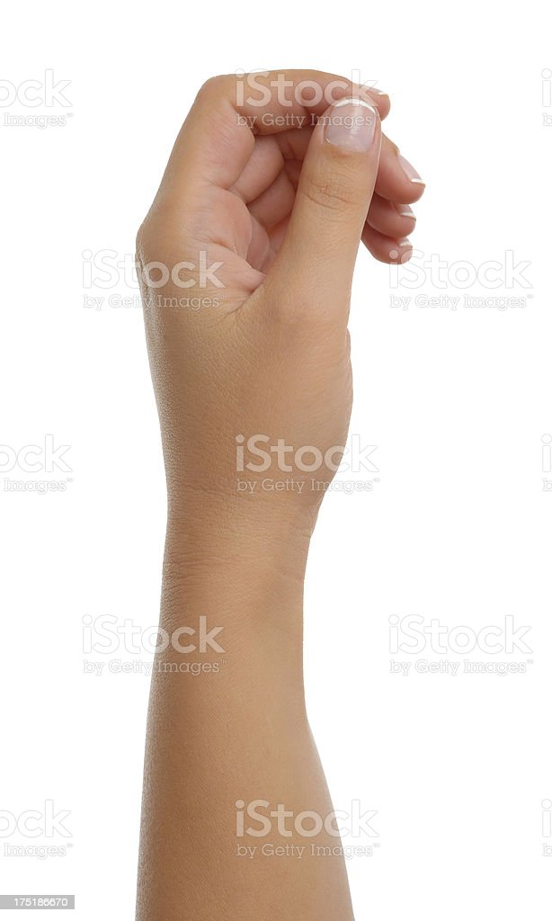 Hand gesturing like holding a card royalty-free stock photo