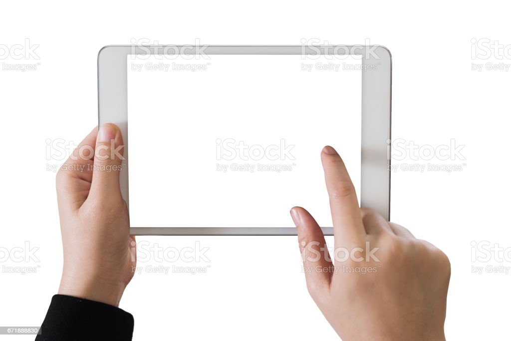 Hand girl using tablet isolated white clipping path inside stock photo