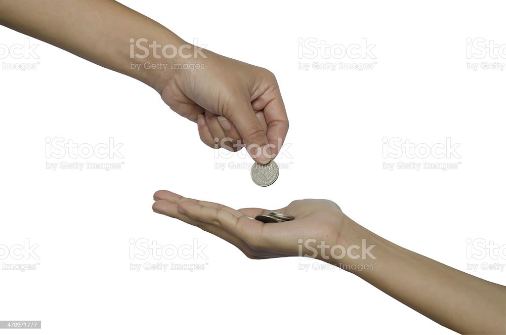 hand give money stock photo
