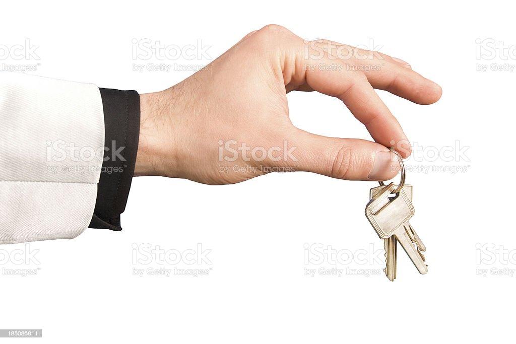 Hand giving keys stock photo