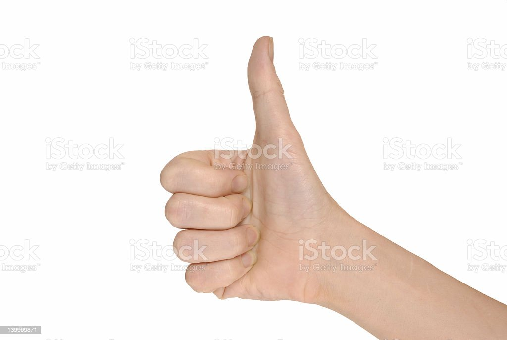 Hand giving the thumbs up on white background stock photo