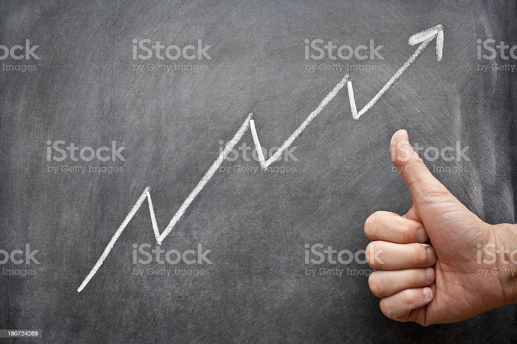 Hand giving thumbs up to an upward chalkboard arrow. royalty-free stock photo