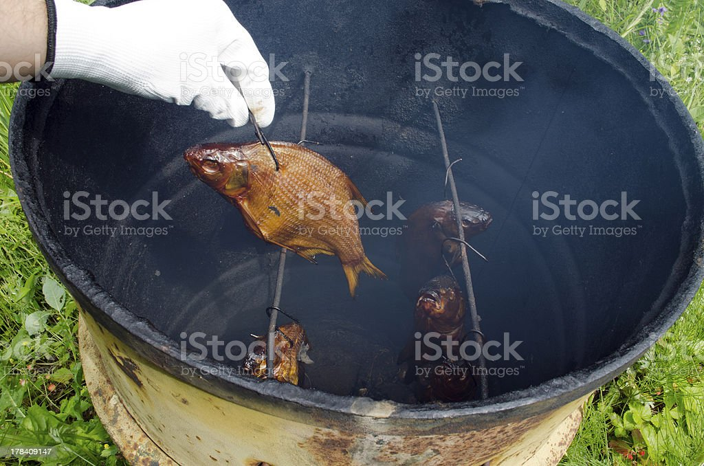 hand glove smoke tench fish smokehouse barrel royalty-free stock photo