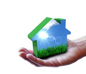 Hand Green Eco House Nature Concept