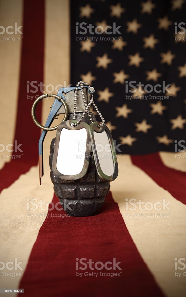 Hand grenade and military dog tags stock photo