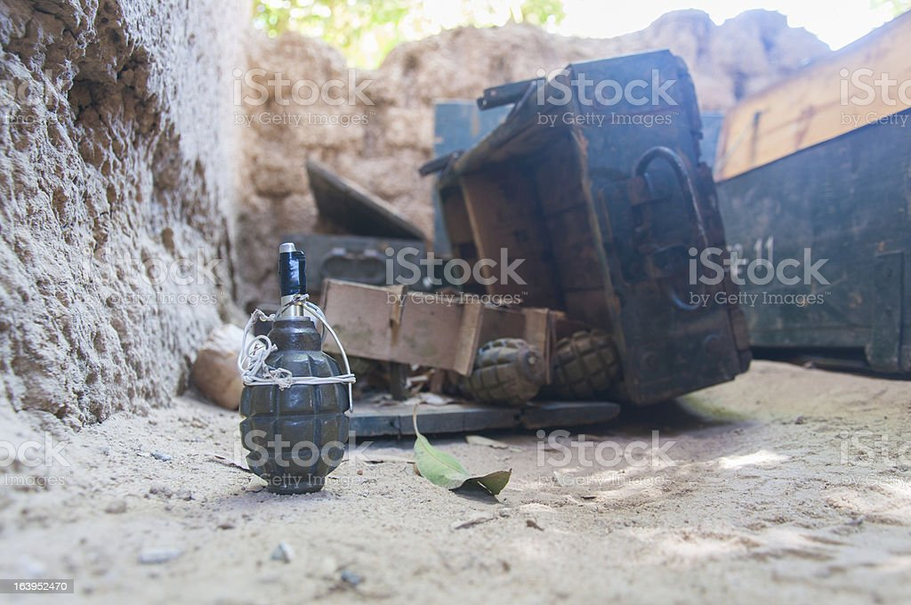 Hand Grenade and war weapons in Africa stock photo