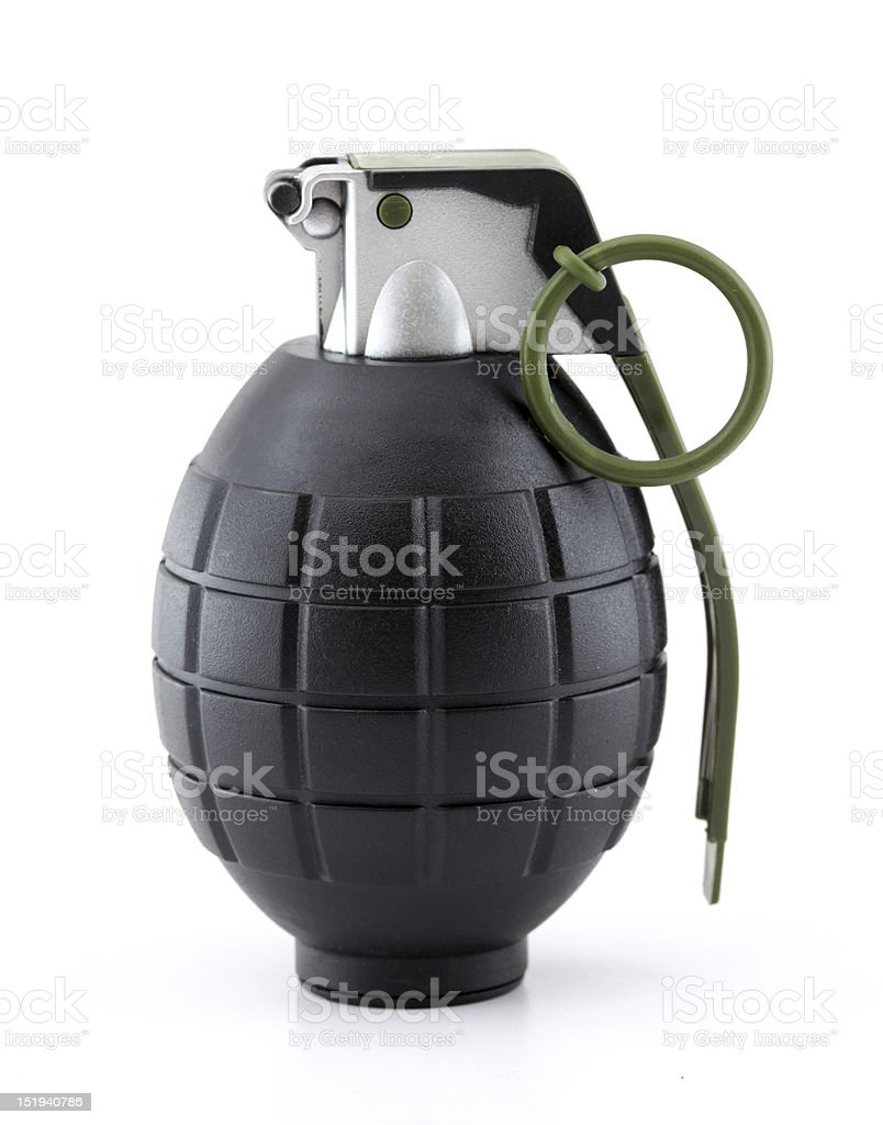 Hand grenade black and gray stock photo