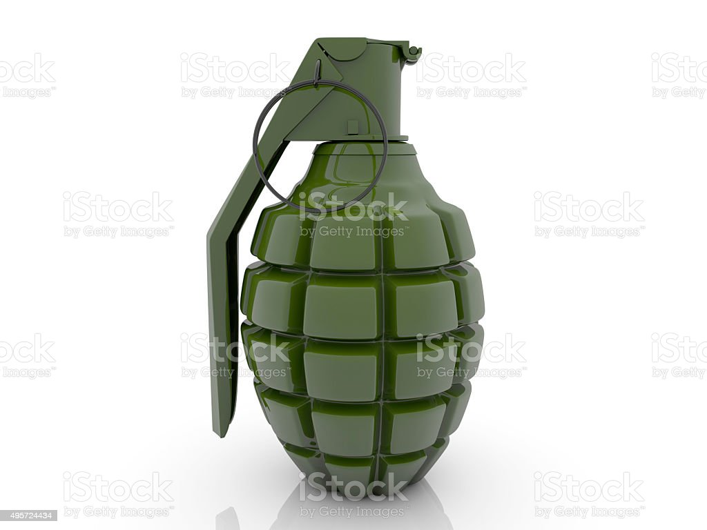 Hand grenade in green color stock photo